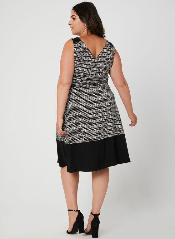 Geometric Print Sleeveless Dress, Black