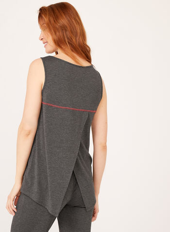 Capelet Back Sleeveless Top, Grey, hi-res