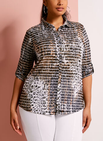 Animal Print Button Down Shirt, , hi-res