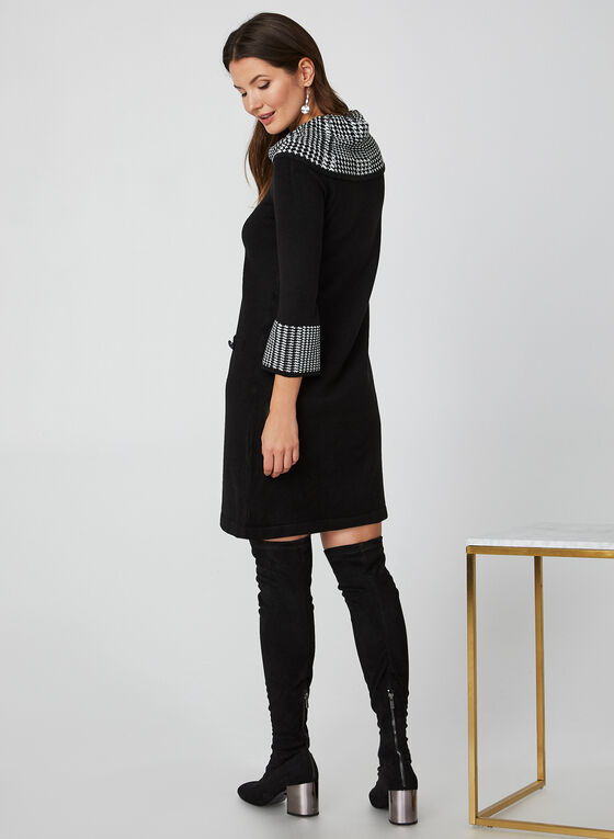 Houndstooth Print Cowl Neck Sweater Dress, Black