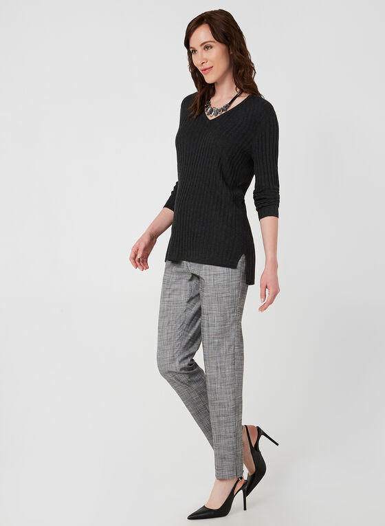 Ribbed V-Neck Sweater, Grey