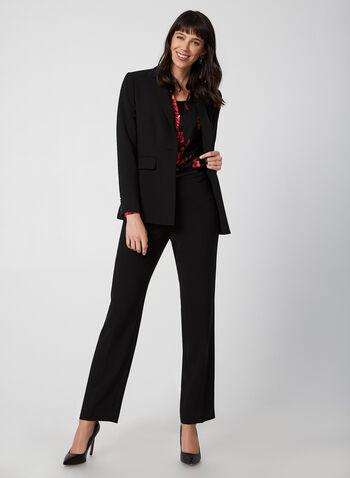 Pantalon coupe moderne à jambe droite, Noir,  automne hiver 2019, poches