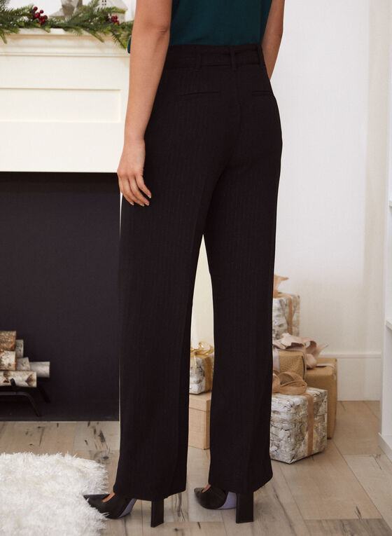 Belted Wide Leg Pants, Black