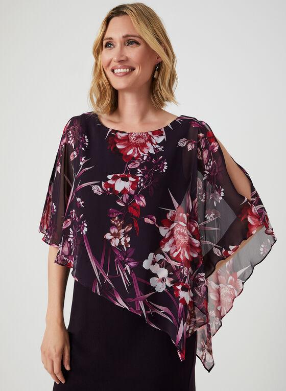 Robe à poncho fleuri asymétrique, Violet, hi-res