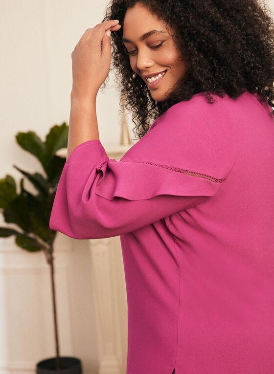 3/4 Sleeve Ruffle Detail Blouse, Purple