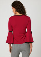 Tulip Sleeve Crepe Blouse, Red, hi-res