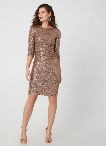 ¾ Sleeve Sequin Dress, Brown, hi-res,  dress, cocktail dress, sequins, 3/4 sleeves, long sleeves, fall 2019, winter 2019