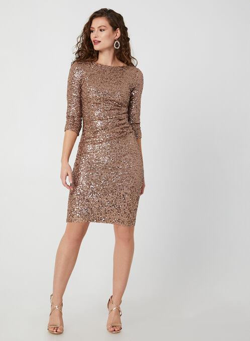 ¾ Sleeve Sequin Dress, Brown