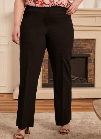 Louben - Pantalon à jambe droite , Noir,  printemps été 2021, pantalon, jambe droite, fermeture, zip, crochet, barrettes, pinces, poches passepoilées, fait au canada