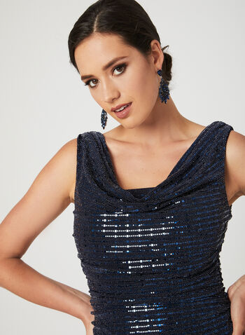 Metallic Bodice Jersey Jumpsuit, Blue, hi-res