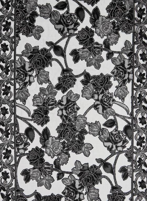 Foulard fleuri à frange longue, Gris