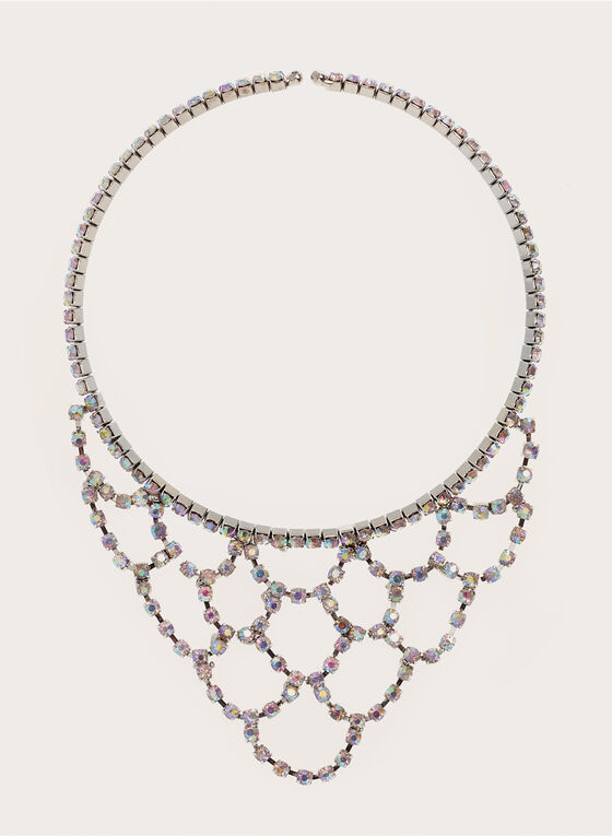Iridescent Crystal Bib Necklace, Silver, hi-res