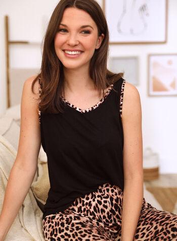 Leopard Print Pyjama Set, Black,  spring summer 2021, sleepwear, pj, pyjama, set, animal print, leopard print, cheetah print, cami, capris, pants, pull-on, elastic waist, wide strap, round neck, contrast, soft