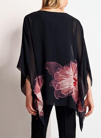 Blouse poncho fleurie à manches ajourées, Noir, hi-res