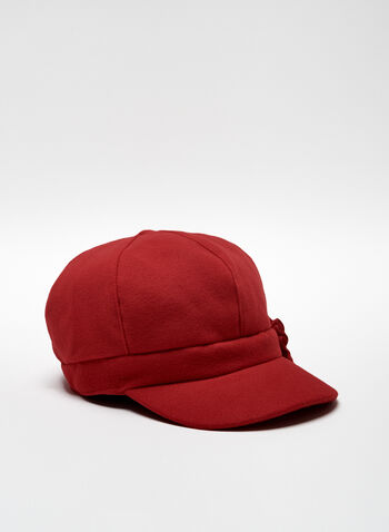 Floral Detail Cabbie Hat, Red, hi-res