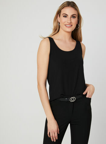 Sleeveless Scoop Neck Top , Black, hi-res