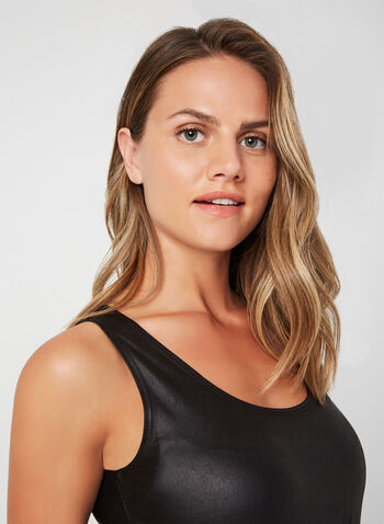 Faux Leather Sleeveless Top, Black, hi-res,  Canada, sleeveless, faux leather, top, fall 2019, winter 2019