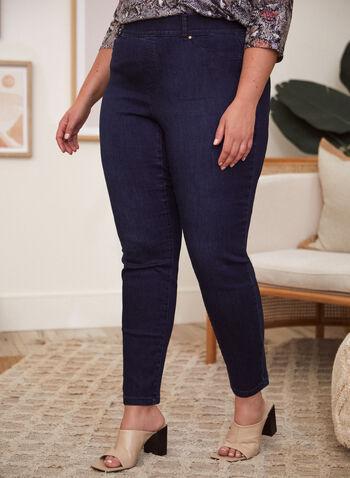 Jeans à enfiler à jambe étroite , Bleu,  printemps été 2021, jeans, denim, à enfiler, pull-on, jambe étroite, poches, fermeture éclair