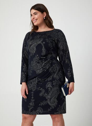 Metallic Paisley Print Dress, Blue,  dress, paisley print, metallic, long sleeves, ruched, lined, fall 2019, winter 2019