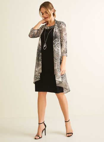 Textured Cardigan & Dress Set, Black,  cocktail dress, cardigan, set, textured, jersey, mesh, medallion, ensemble, necklace, pendant, spring summer 2020