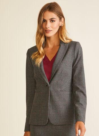 Veste à col cranté et motif tartan, Rouge,  veste, un bouton, col cranté, tartan, automne hiver 2020