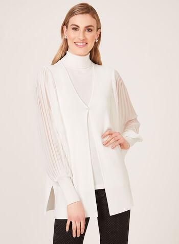 Cardigan en maille fine et manches plissées, Blanc cassé, hi-res