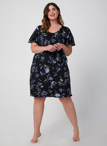 Hamilton - Floral Print Nightgown, Blue, hi-res,  fall winter 2019, jersey fabric, short sleeves, nightgown, floral print
