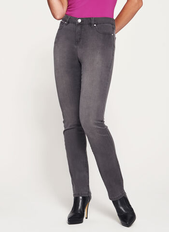 Modern Fit Straight Leg Jeans, Grey, hi-res
