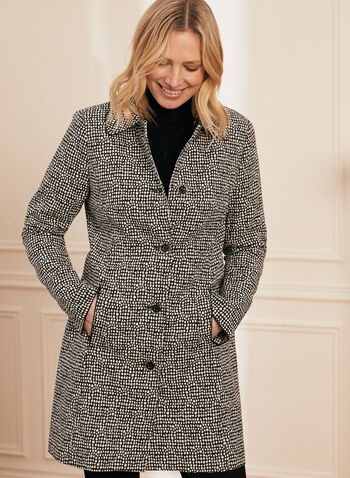 Novelti - Buttoned Polka Dot Print Coat, Black,  coat, shirt collar, long sleeves, buttons, polka dot, shoulder pads, lined, spring summer 2020