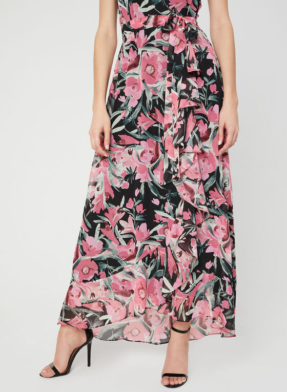Floral Print Maxi Dress, Pink, hi-res