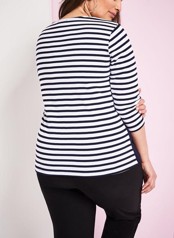 ¾ Sleeve Stripe Print Top, Blue, hi-res