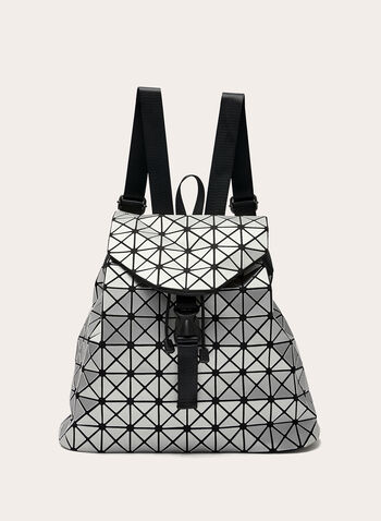 Geometric Print Backpack , Silver, hi-res