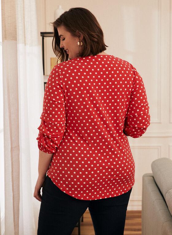 Polka Dot Print Top, Red