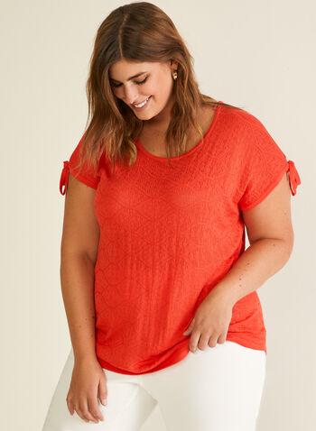Pull en tricot pointelle à épaules ajourées, Rouge,  pull, col dégagé, épaules ajourées, tricot pointelle, printemps été 2020