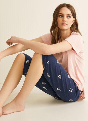 Claudel Lingerie - T-Shirt & Capri Pyjama Set, Pink,  pyjamas, sleepwear, shirt, capri, v-neck, short sleeves, tie, stretchy, spring summer 2020