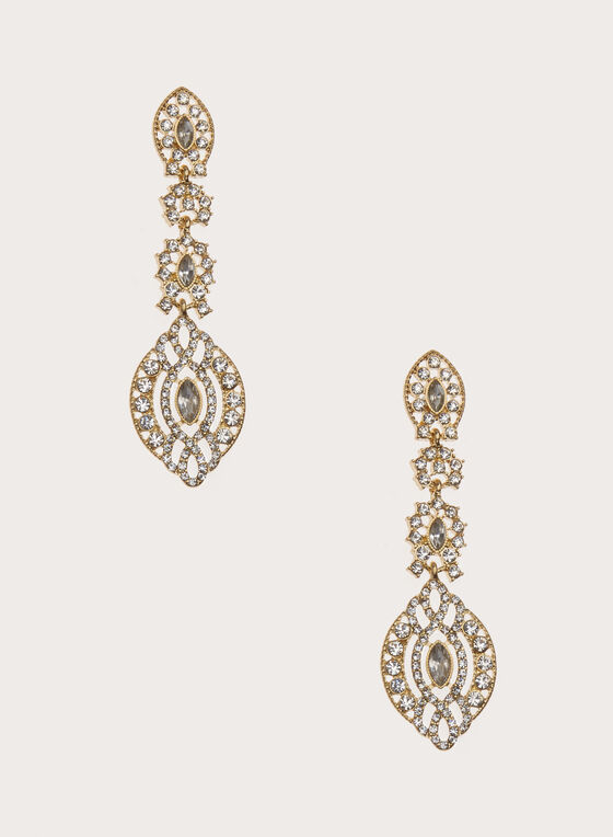 Boucles d'oreilles chandelier dorées et cristaux, Or, hi-res