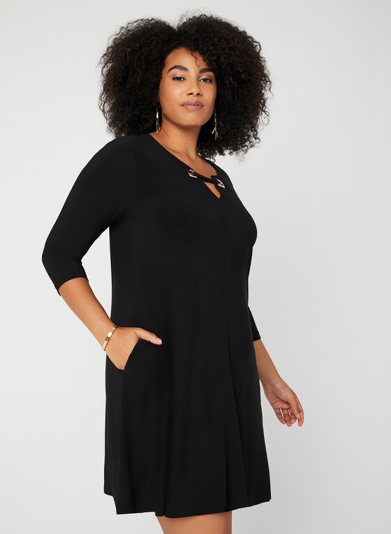 Nina Leonard - ¾ Sleeve Jersey Dress , Black
