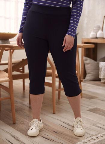 Slim Leg Pull On Capris, Blue,  spring summer 2021, made in Canada, capris, leggings, capri pants, pants, bottoms, pull-on, pull on, ponte di roma, side slit