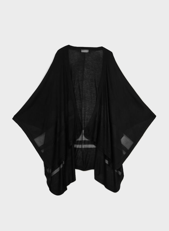 Lightweight Open Front Poncho, Black, hi-res