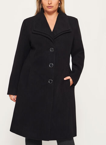 Double Collar Wool Like Coat, Black, hi-res