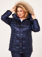 Faux Fur Trim Down Coat , Blue, hi-res