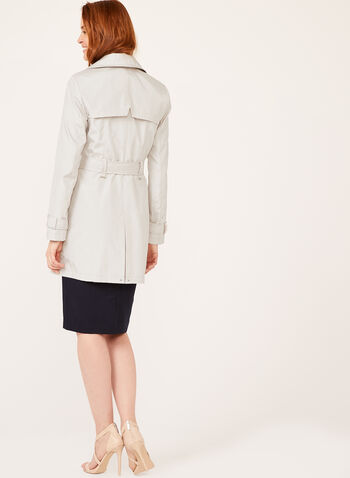 Iridescent Belted Trench Coat, Off White, hi-res