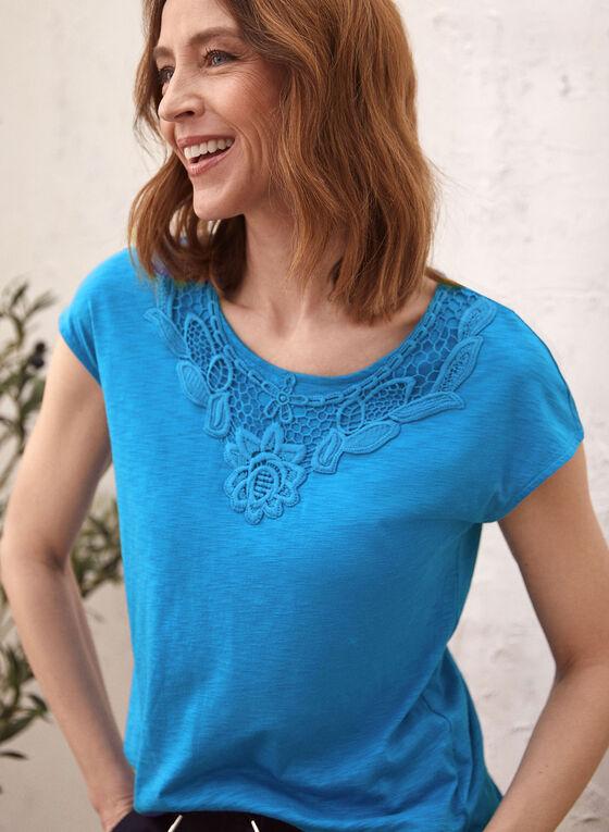 Lace Detail T-Shirt, Blue