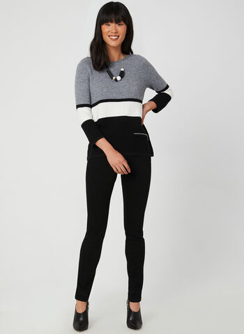 Stripe Print Colour Block Top, Grey,  ¾ sleeves, 3/4 sleeves, ottoman, zipper, fall 2019, winter 2019