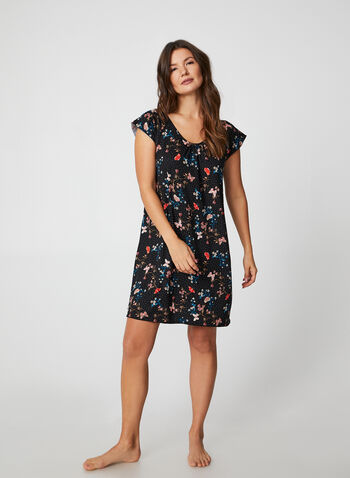 Hamilton - Mixed Butterfly & Floral Print Nightgown, Black, hi-res,  canada, nightgown, sleepwear, nightwear, floral print, print, cap sleeves, fall 2019, winter 2019