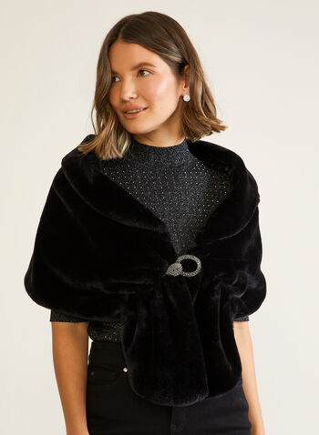 Faux Fur Stole With Buckle, Black,  fall winter 2020, stole, faux fur, clip, crystals, rhinestones