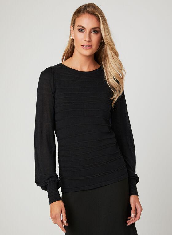 Haut en tricot texturé , Noir, hi-res
