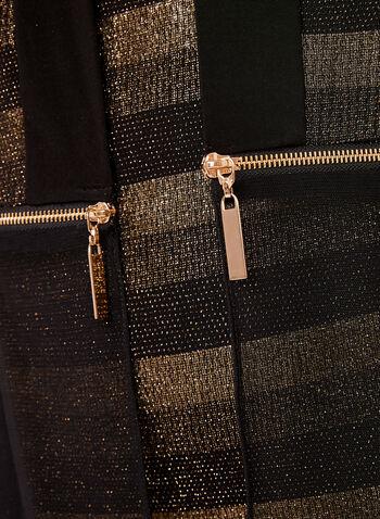 Frank Lyman - Cardigan métallique à rayures et zip, Jaune, hi-res