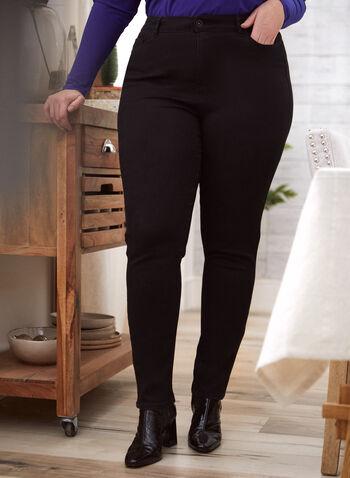 Jeans à jambe droite , Noir,  automne hiver 2020, pantalons, jeans, fermeture à glissière, bouton, confort, jambe droite, modal, essentiel, 5 poches