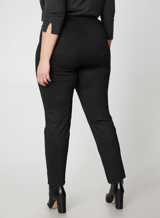 Pantalon jambe étroite à imprimé géométriques, Noir